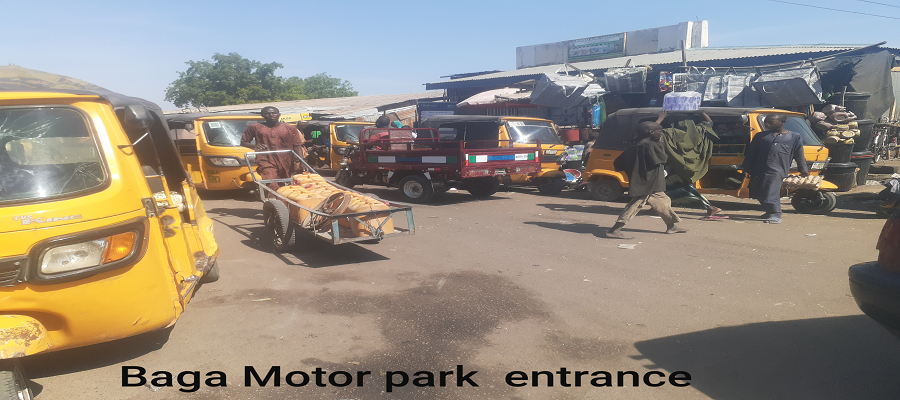 motorcycle taxis and people on the baga market in maiduguri